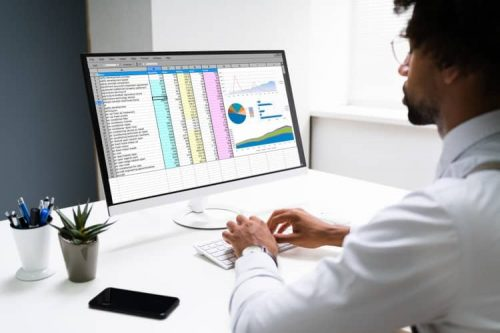 An accountant reviews an AI-generated financial spreadsheet on his computer.