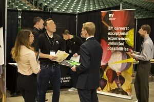 UND Spring Career Fair participants meet with recruiters.