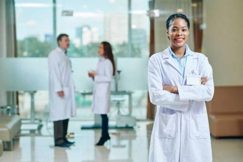 A smiling nurse practitioner.