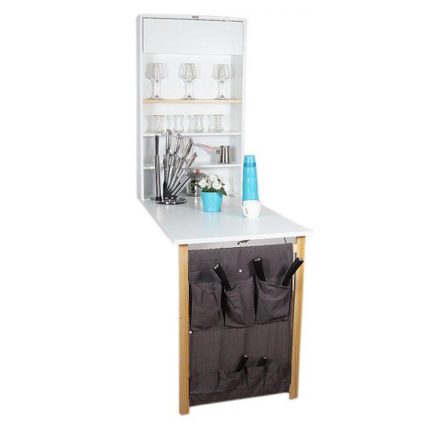 طاولة للمطبخ مع وحدة تخزين للمطبخ قابلة للطيّ