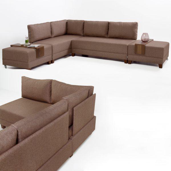 كنبة مع أريكة إسترخاء يسار لون بني بتصميم مودرن عصري