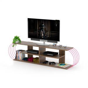 طاولة تلفاز - لون بني بقضبان زهرية