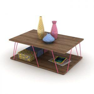 طاولة ضيافة عصرية لون بني بقضبان زهرية