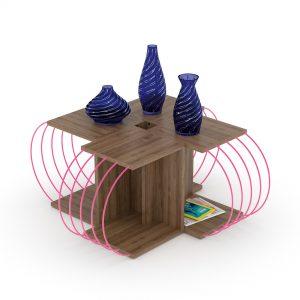 طاولة قهوة 4 قطع لون بني بقضبان زهرية