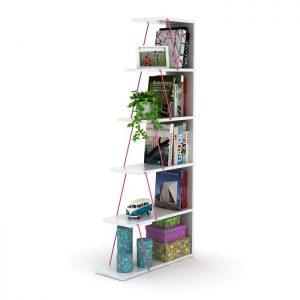خزانة مصغرة للكتب لون أبيض بقضبان زهرية