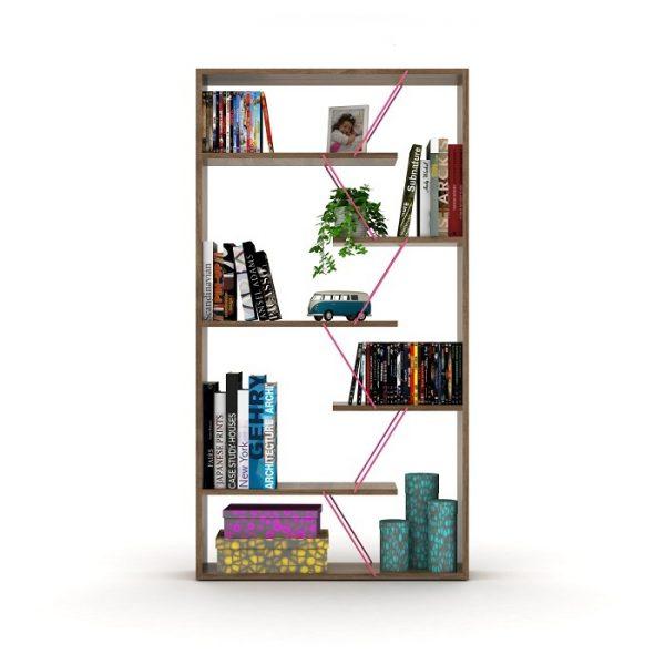 خزانة مفتوحة للكتب لون بني بقضبان زهرية
