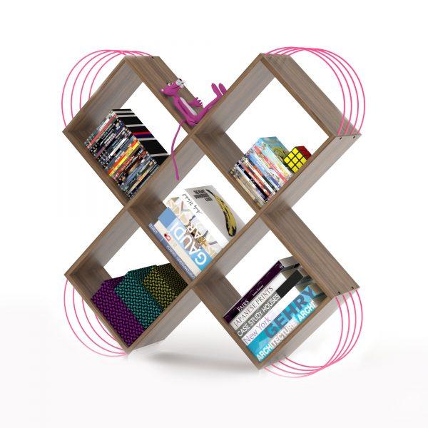خزانة مصغرة للكتب - بني بقضبان زهرية