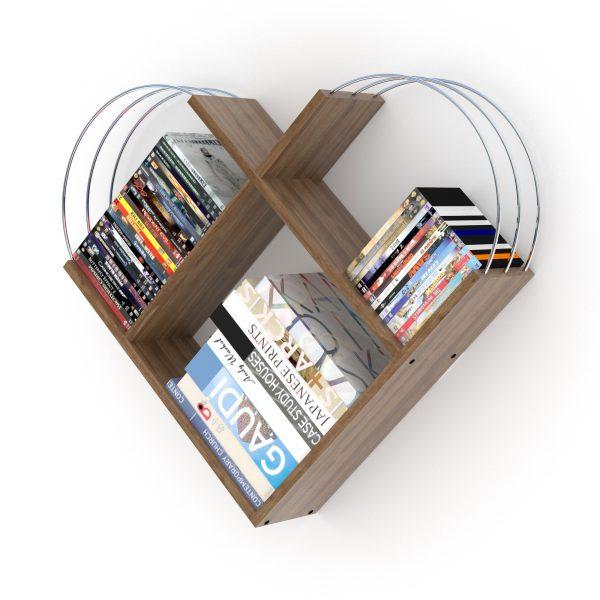 خزانة عصرية للكتب - بني بقضبان فضية