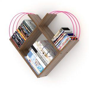 خزانة عصرية للكتب - بني بقضبان زهرية