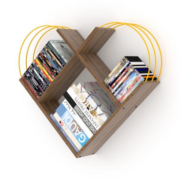 خزانة عصرية للكتب - بني بقضبان صفراء