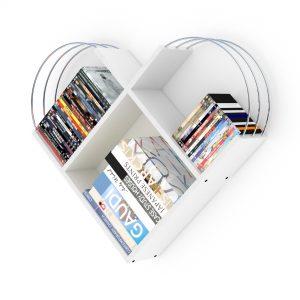 خزانة عصرية للكتب -أبيض بقضبان فضية