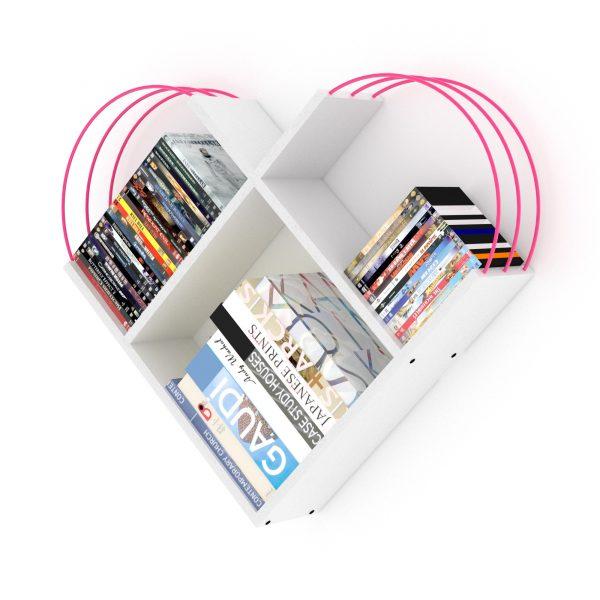 خزانة عصرية للكتب -أبيض بقضبان زهرية