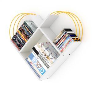 خزانة عصرية للكتب -أبيض بقضبان صفراء