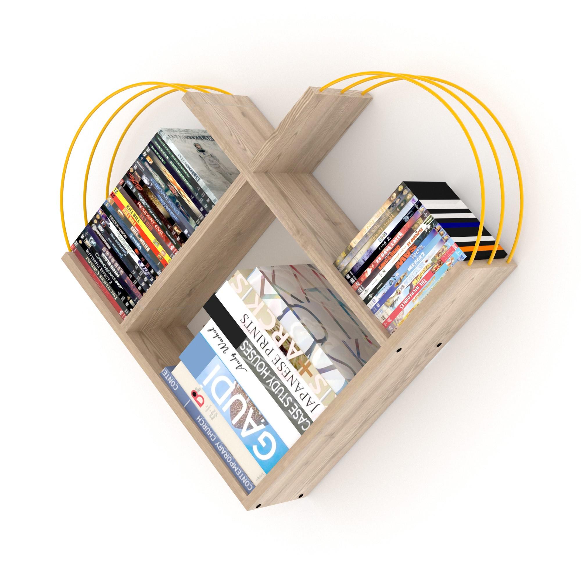 خزانة عصرية للكتب -بني فاتح بقضبان صفراء
