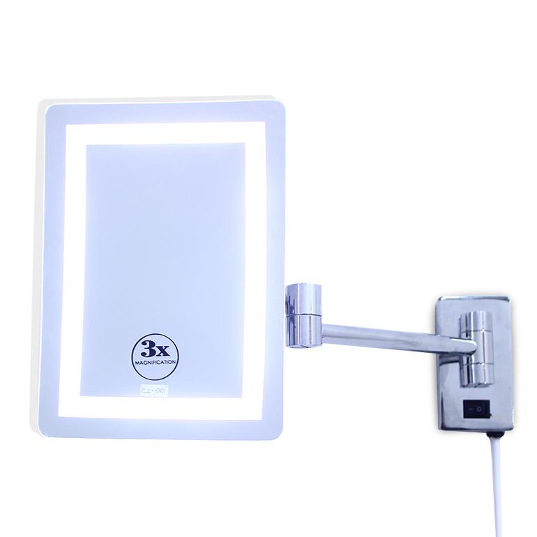 مرآة المكبرة مرآة الحائط المستطيلة المضيئة LED
