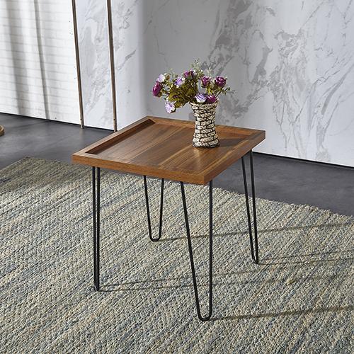 طاولة جانبية تحفة فنية موديل كاري صناعة خشبية بأرجل حديدية