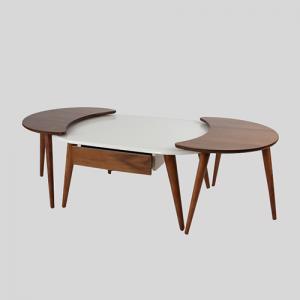طاولة ضيافة تصميم فريد بسطح أبيض وأرجل بنية مع وحدة تخزين وطاولات خدمة