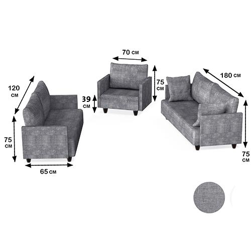 طقم كنب مقاعد لون رمادي ثلاثة قطع بتصميم مودرن عصري وجذاب