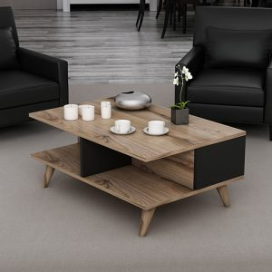 طاولة قهوة موديل يوجينا صناعة خشبية لون بني وأسود