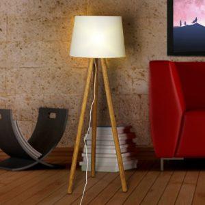 أباجورة أرضية بقاعدة خشبية تصميم وود لايت