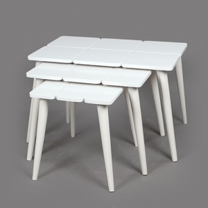 طقم طاولات خدمة بيضاء 3 قطع متداخلة
