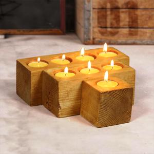 حامل الشموع من الخشب 3 قطع
