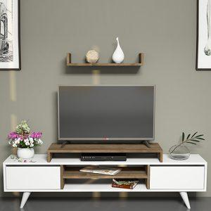 طاولة تلفاز موديل ميلسا صناعة خشبية لون بني وأبيض