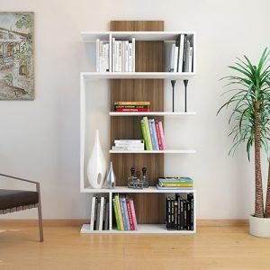 خزانة متعددة الأغراض موديل جيكي بستة أرفف خشبية لون بني وأبيض