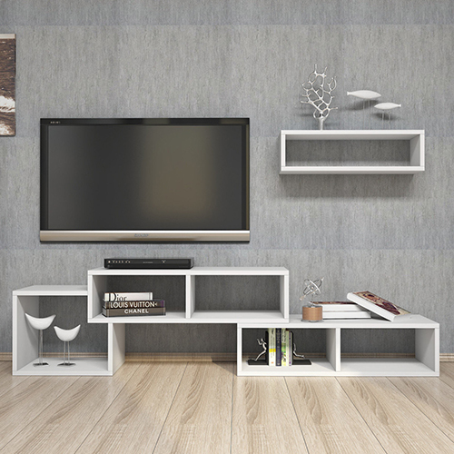 طاولة تلفاز موديل أرمينيا برف خشبي لون أبيض