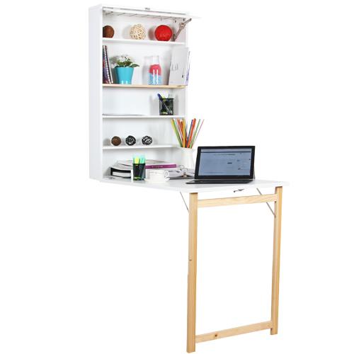 طاولة مكتب مخفية مع وحدات تخزين تعلق في الجدار