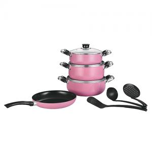 طقم قدور الشيف سيراميك 10 قطعة اللون الوردي