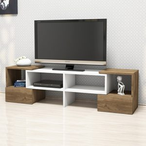 طاولة تلفاز موديل فولت صناعة خشبية لون بني وأبيض