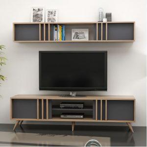 طاولة تلفاز موديل برين بأبواب ووحدات تخزين صناعة خشبية
