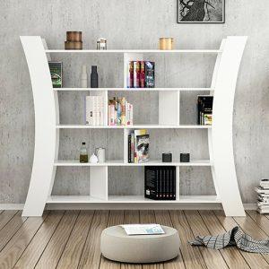 خزانة متعددة للكتب موديل هيليك صناعة خشبية لون أبيض