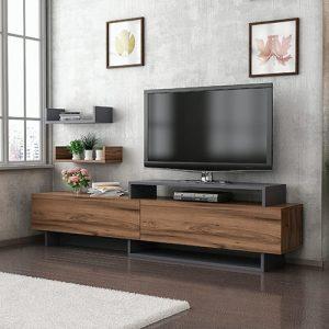 طاولة تلفاز موديل نيو زيرا مع أرفف حائط