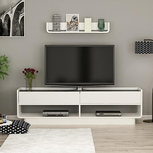 طاولة تلفاز موديل لايز صناعة خشبية لون أبيض وأسود