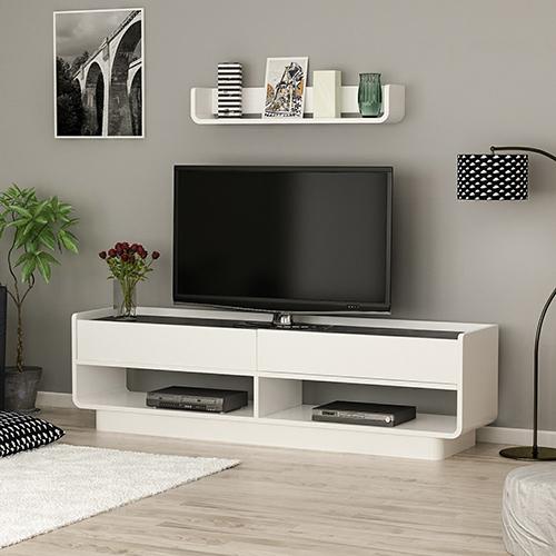 رف وطاولة خشب تلفزيون