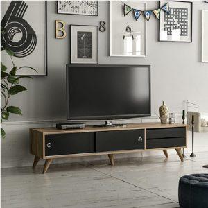 طاولة تلفاز موديل إدياردو صناعة خشبية لون بني وأسود