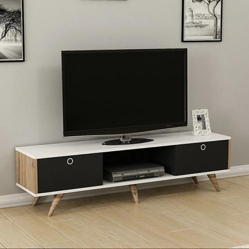 طاولة تلفاز موديل زين صناعة خشبية لون بني وأبيض وأسود