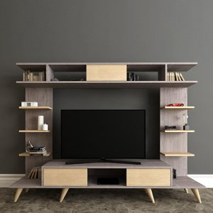 طاولة تلفاز موديل روتيرو صناعة خشبية لون بني