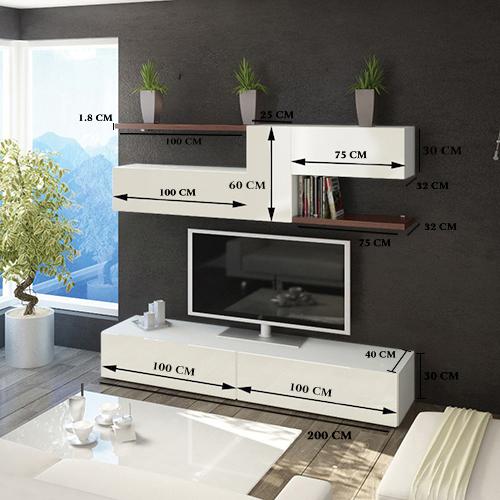 مقاسات طاولة تلفاز خشبية