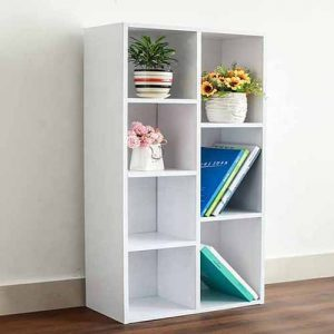 مدخل ومكتبة smart save لون أبيض صناعة خشبية