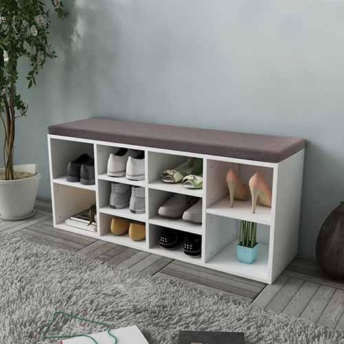 منظم أحذية صناعة خشبية لون أبيض بمقعد