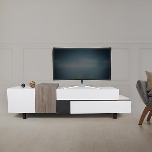 طاولة تلفاز موديل ستيم بأدراج تخزين لون أبيض وبني وأسود صناعة خشبية
