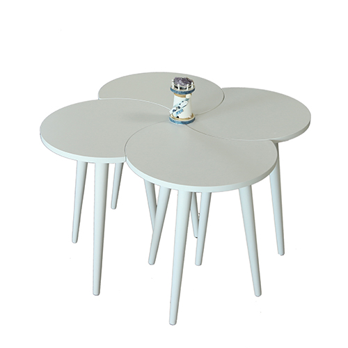 طاولة قهوة موديل تروفا أبيض صناعة خشبية بأرجل من خشب الزان 4