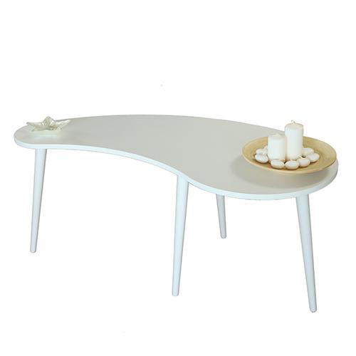 طاولة قهوة موديل كيرف أبيض صناعة خشبية بأرجل من خشب الزان