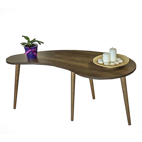 طاولة قهوة موديل كيرف بني صناعة خشبية بأرجل من خشب الزان