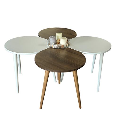 طاولة القهوة موديل ميلاس أبيض وبني صناعة خشبية بأرجل من خشب الزان 4 قطع