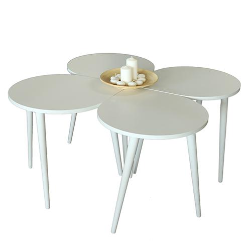 طاولة القهوة موديل ميلاس أبيض صناعة خشبية بأرجل من خشب الزان 4 قطع