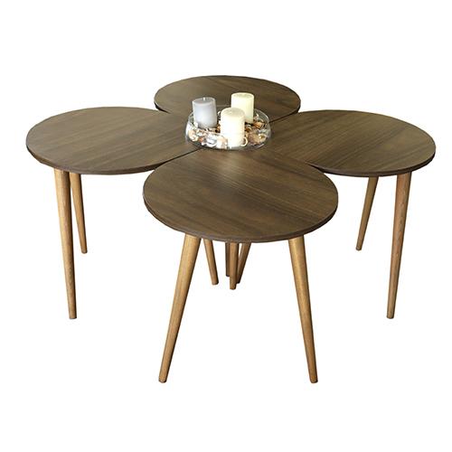 طاولة القهوة موديل ميلاس بني صناعة خشبية بأرجل من خشب الزان 4 قطع